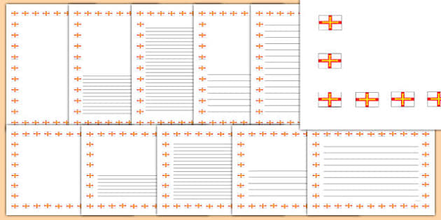Guernsey Flag Page Borders - writing, olympics, write, literacy, independent, template, frame, channel islands