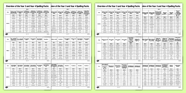Overview of Year 3 and Year 4 Spelling Packs - spelling, weekly, overview, y3, y4, ks2, key stage 2, uks2