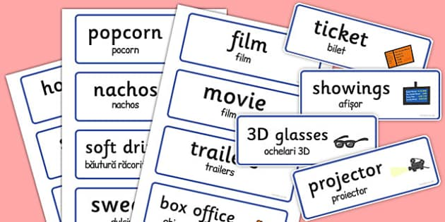 Cinema Role-Play Word Cards Romanian Translation - romanian
