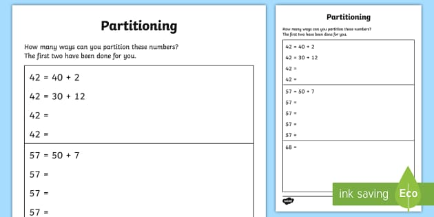 Partitioning in Different Ways Activity Sheets year 2 maths – Maths Partitioning Worksheets