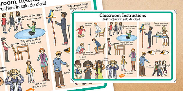 Classroom Instructions Display Poster Romanian Translation - romanian, classroom, instructions, display, poster