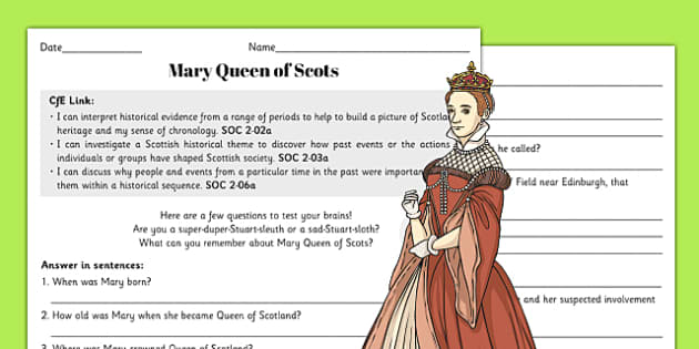Mary Queen of Scots Question Sheet with Answers - mary, queen