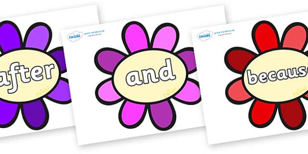 Connectives on Flowers - Connectives, VCOP, connective resources, connectives display words, connective displays
