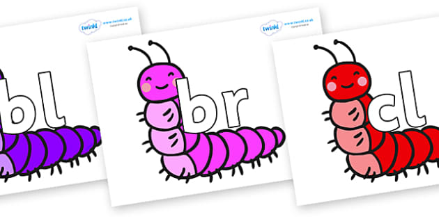 Initial Letter Blends on Caterpillars - Initial Letters, initial letter, letter blend, letter blends, consonant, consonants, digraph, trigraph, literacy, alphabet, letters, foundation stage literacy
