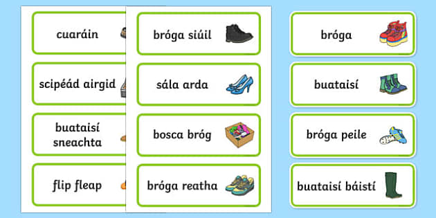 Shoe Shop Role Play Word Cards Gaeilge - Shoe shop, shoes, role play, shop, trainers, display, poster, shoe box, labels, measuring chart, word cards
