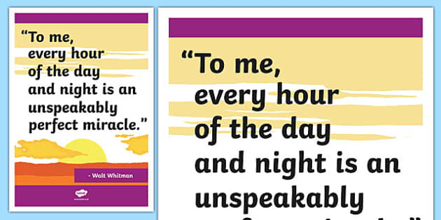 Whitman Inspirational Classroom Quote Display Poster - usa, america, whitman, inspirational, classroom, quote, display, poster