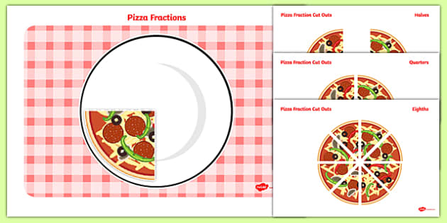 Pizza Fraction Cut-Outs - pizza fraction, cut outs, pizza, fraction, maths
