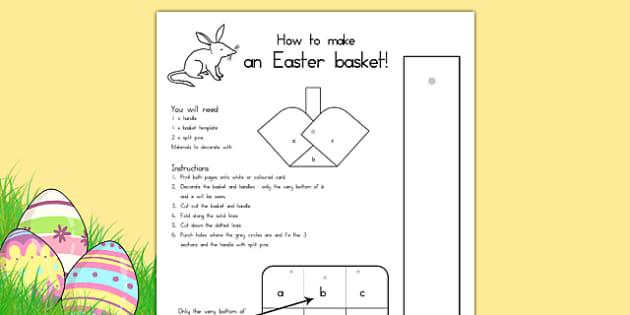 Easter Basket Template - easter, easter crafts, easter games