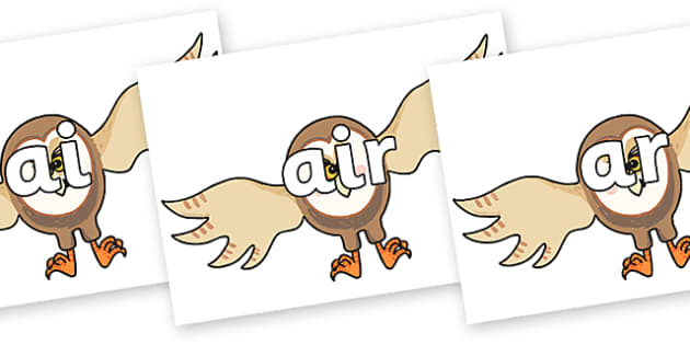 Phase 3 Phonemes on Hullabaloo Owl to Support Teaching on Farmyard Hullabaloo - Phonemes, phoneme, Phase 3, Phase three, Foundation, Literacy, Letters and Sounds, DfES, display