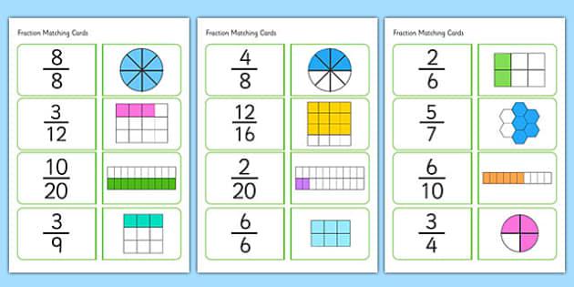Fractions Matching Cards - fractions, matching cards, matching