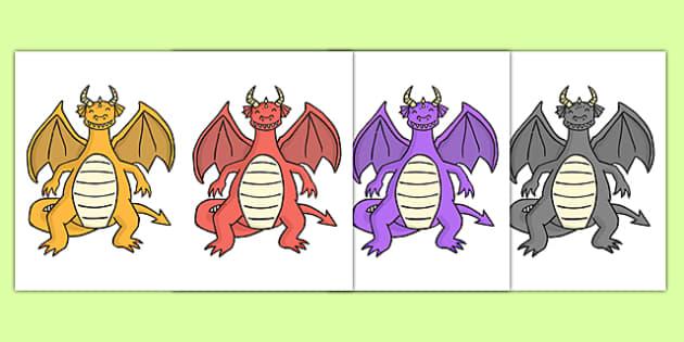 Dragon Cut Outs - dragon, cut outs, cut, outs, fantasy, myth, legend, activity