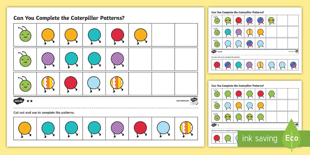 Differentiated Complete the Caterpillar Pattern Activity