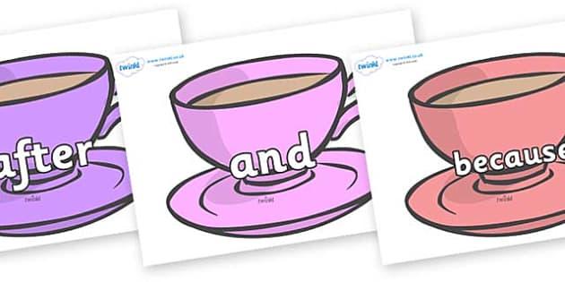 Connectives on Cups - Connectives, VCOP, connective resources, connectives display words, connective displays
