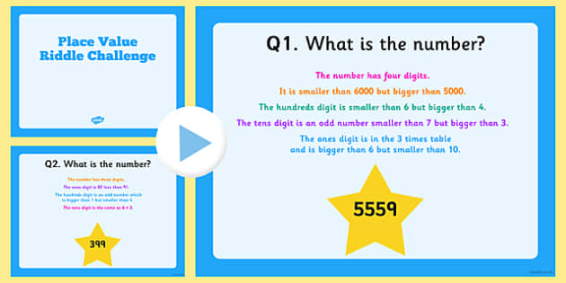 Place Value Riddle Challenge PowerPoint - numbers, digits, ones, tens, hundreds, thousands, words, challenge, presentation, whole, class, ks2, key stage 2, junior,
