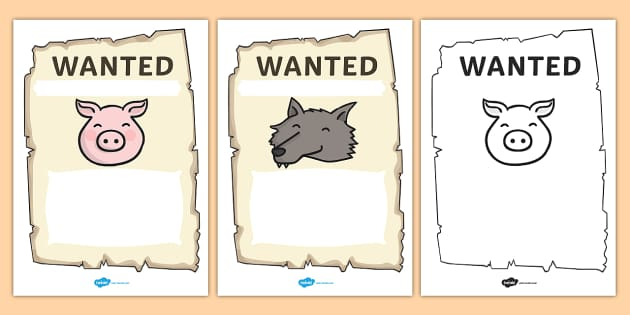 Big Bad Wolf Wanted Posters - big bad wolf, wanted posters, posters, themed worksheet, wanted worksheet, worksheet, activities, wanted, writing prompt