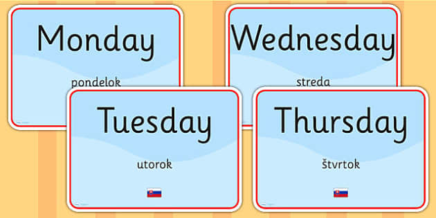 Days of the Week Signs EAL Slovak Version - language, display