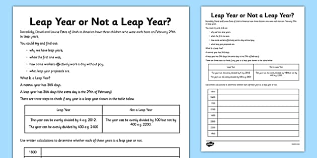 Leap Year or Not a Leap Year Activity Sheet Pack - leap year, february, activity, worksheet