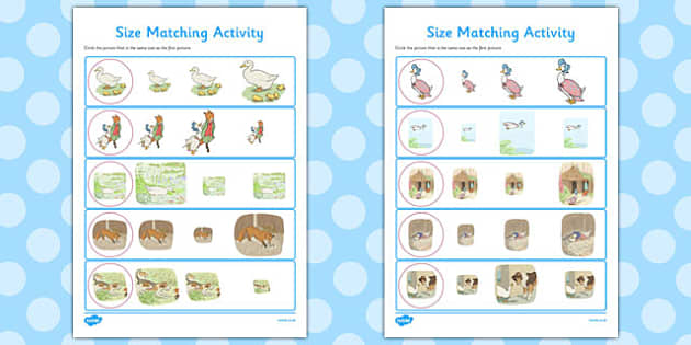 The Tale of Jemima Puddle-Duck Size Matching Worksheets - puddle-duck