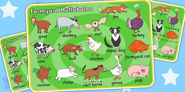 Word Mat to Support Teaching on Farmyard Hullabaloo - farm, words, keywords, visual aid