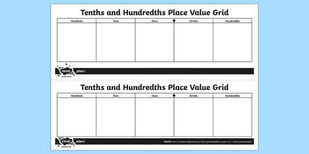 Tenths and Hundredths Place Value Grid - year, 4, four, y4, ks2, maths, fractions, decimals, tenths, hundredths, decimal tenths, decimal hund