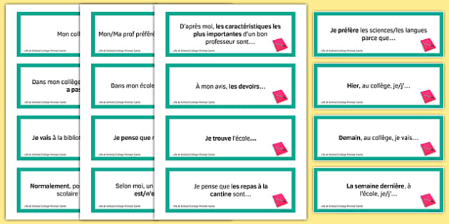 General Conversation Question Prompt Cards Life at School College - french, Conversation, Speaking, Questions, School, College, école, Collège, Scolaire, Professeurs, Teachers, Uniform, Uniforme, Rules, Règles, Règlement, Journée, Cards, Cartes