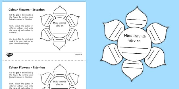 MFL Estonian Colour Flowers Activity Sheet, worksheet