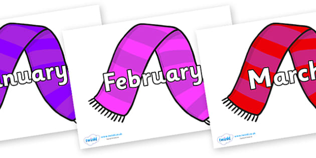 Months of the Year on Scarves - Months of the Year, Months poster, Months display, display, poster, frieze, Months, month, January, February, March, April, May, June, July, August, September