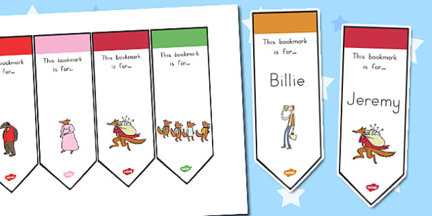 Editable Bookmarks to Support Teaching on Fantastic Mr. Fox - australia, fantastic mr fox