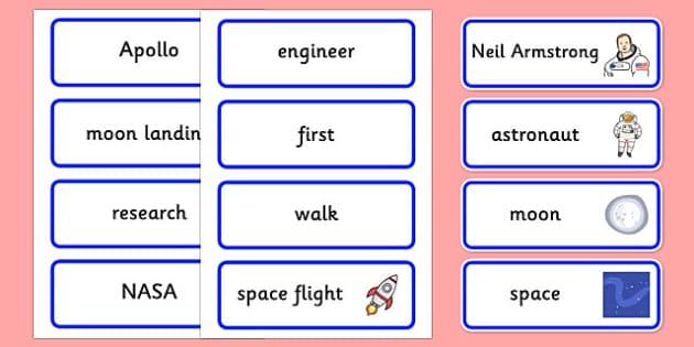 Neil Armstrong Word Cards - neil armstrong, word cards, themed word cards, cards of words, key word, topic word, word, writing aid, writing guide, keywords