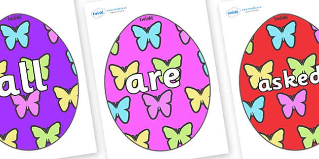 Tricky Words on Easter Eggs (Butterflies) - Tricky words, DfES Letters and Sounds, Letters and sounds, display, words