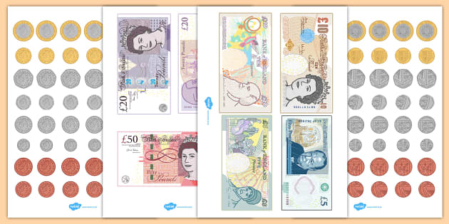 Toy Money Cut Outs : British uk money cut outs coins display