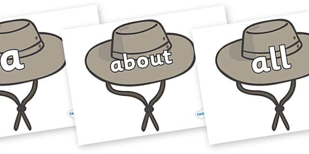 100 High Frequency Words on Cowboy Hats - High frequency words, hfw, DfES Letters and Sounds, Letters and Sounds, display words