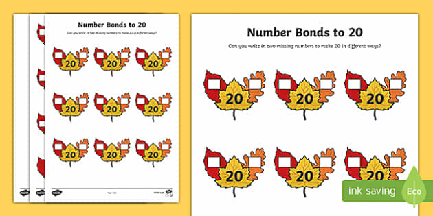 Autumn Leaf Number Bonds to 20 Activity Sheet
