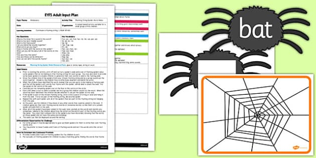 Rhyming String Spider Word Webs EYFS Adult Input Plan And Resource Pack - rhyming, string