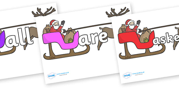 Tricky Words on Sleighs - Tricky words, DfES Letters and Sounds, Letters and sounds, display, words