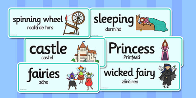Sleeping Beauty Word Cards Romanian Translation - romanian, cards