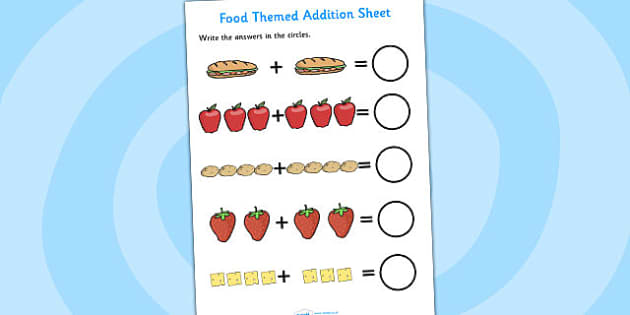 Food Themed Addition Sheet - food, addition sheet, addition