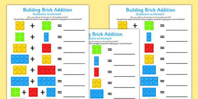 Building Brick Addition Worksheet Polish Translation - polish, building brick, addition, worksheet