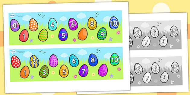 Missing Number Number Line 0-10 (Easter) - numbers, numerline, number line, missing number, easter missing numbers, easter counting activities, easter counting, missing numbers, counting, counting on, counting back, maths, numeracy