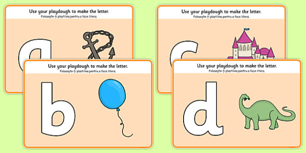 A to Z Alphabet Playdough Mat Romanian Translation - letters, alphabet, writing, playdough, malleable, play, dough, make, create