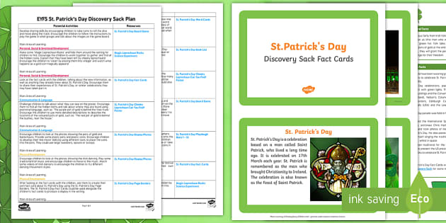 EYFS St. Patrick's Day Discovery Sack Plan and Resource Pack - st patricks day, st patrick