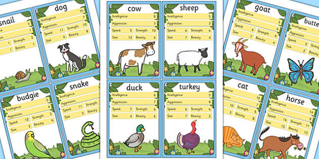 Animal Card Game - game, games, activity, activities, quiz