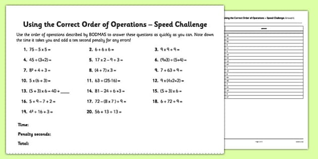 Using the Correct Order of Operations Speed Challenge - BODMAS, brackets, correct order, operations, speed challenge, speed, challenge