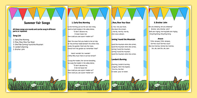 Elderly Care Summer Fair Song Words - Elderly, Reminiscence, Care Homes, Summer Fair