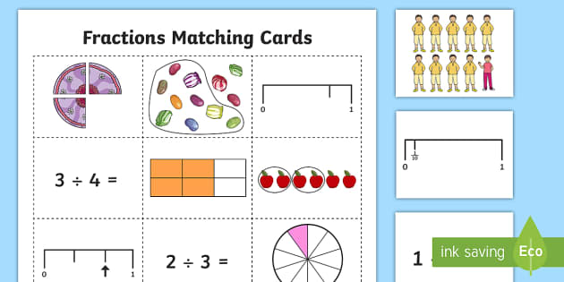 Fraction Representations Matching Cards - fractions, equivalent fractions, fraction number line, fractions of objects, Recognise and show, usi