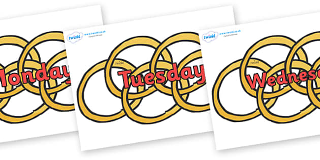Days of the Week on Five Gold Rings - Days of the Week, Weeks poster, week, display, poster, frieze, Days, Day, Monday, Tuesday, Wednesday, Thursday, Friday, Saturday, Sunday