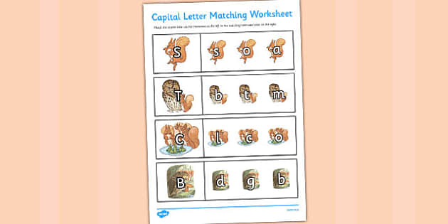 The Tale of Squirrel Nutkin Themed Capital Letter Matching Worksheets