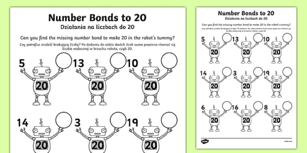 Number Bonds to 20 on Robots Worksheet Polish/English