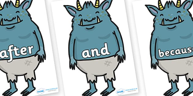 Connectives on Trolls - Connectives, VCOP, connective resources, connectives display words, connective displays