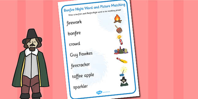 Bonfire Night Word and Picture Matching Worksheet - fireworks